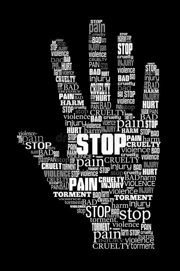 Word cloud stop violence. Hand symbol vector illustration