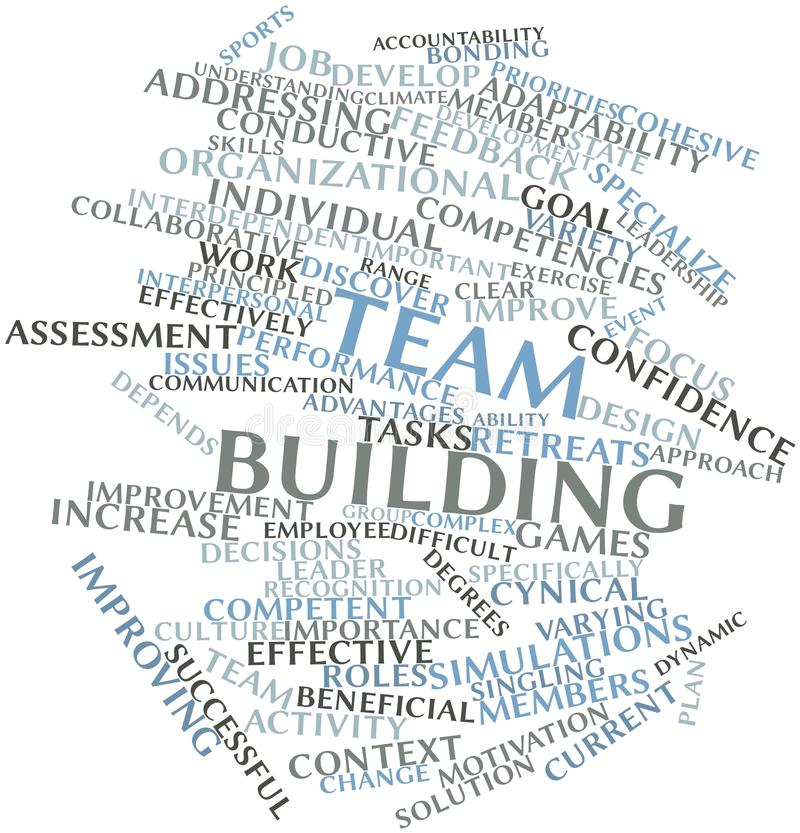 Word cloud for Team building stock illustration