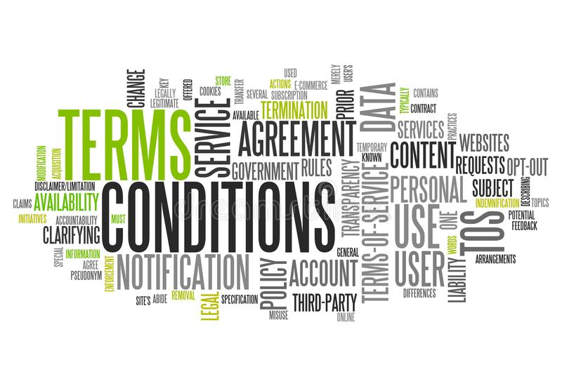 Word Cloud Terms and Conditions. Word Cloud with Terms and Conditions related tags stock illustration