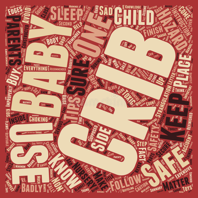 Word Cloud Text Background Concept. Baby Cribs Safety Better Safe Than Sorry text background wordcloud concept stock photography