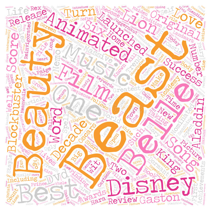 Word Cloud Text Background Concept. Beauty And The Beast DVD Review text background wordcloud concept stock photo