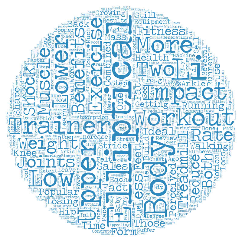 Word Cloud Text Background Concept. Benefits of an Elliptical Trainer Workout text background wordcloud concept royalty free stock images