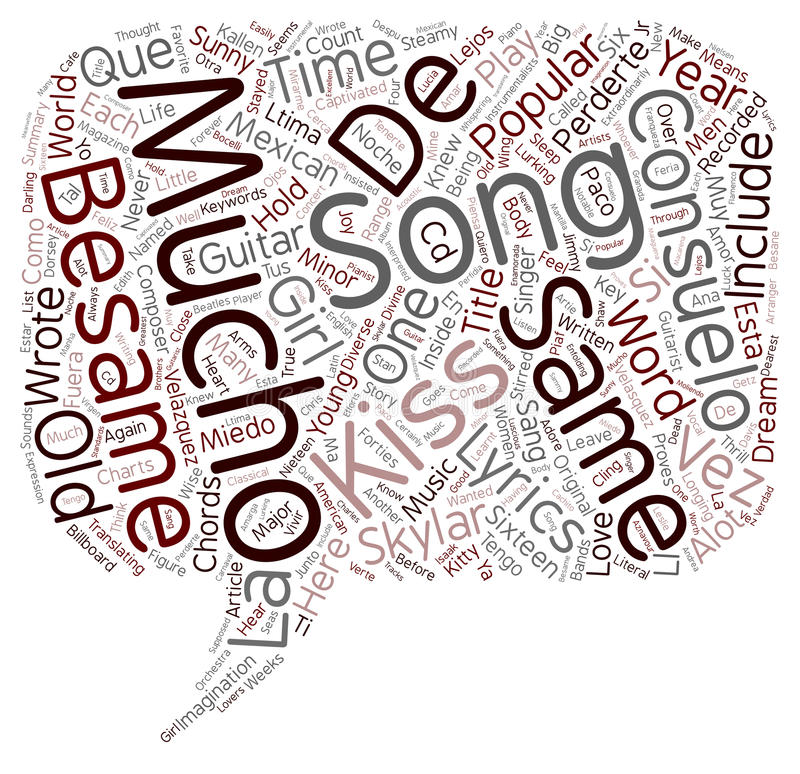 Guitar besame mucho guitar chords and lyrics : Word Cloud Text Background Concept Stock Photo - Image of besame ...