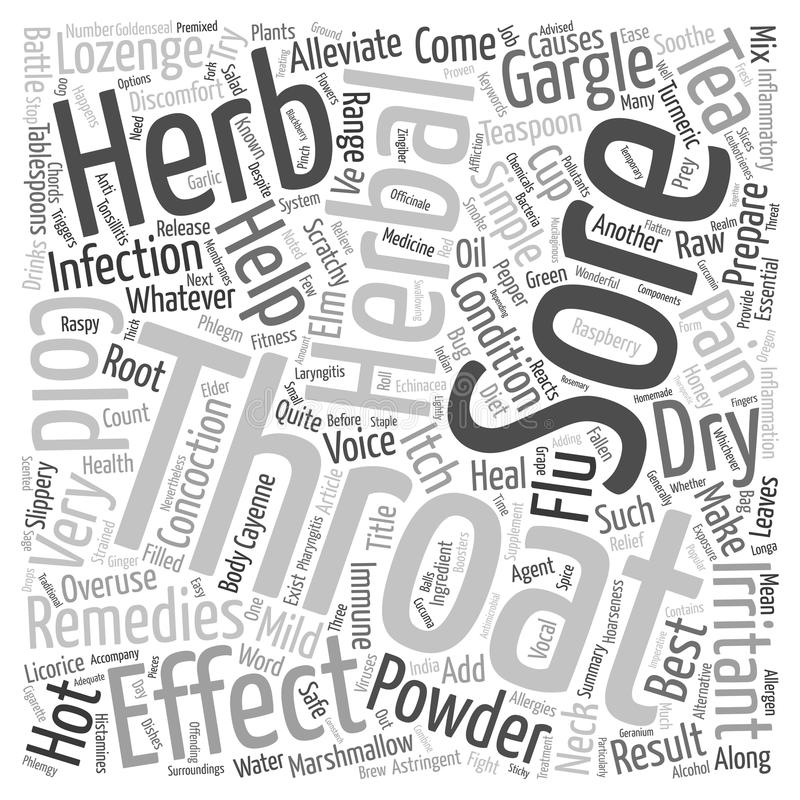 Word Cloud Text Background Concept. The Best Herbal Remedies For Sore Throat and Hoarseness text background wordcloud concept vector illustration