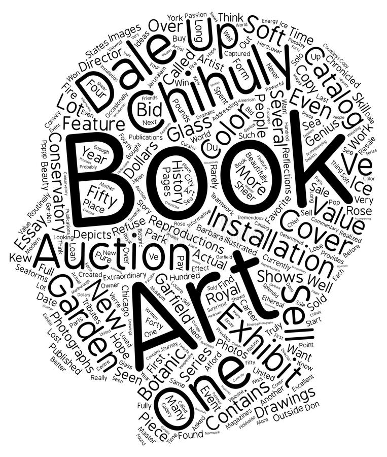 Word Cloud Text Background Concept. Books about dale chihuly text background wordcloud concept stock illustration