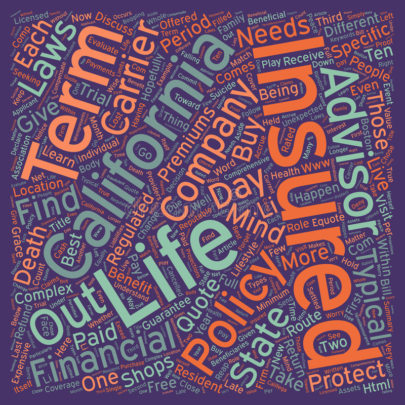 Word Cloud Text Background Concept. California Term Life Insurance text background wordcloud concept stock photo
