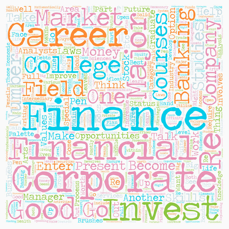 Word Cloud Text Background Concept. Career in numbers the finance majors text background wordcloud concept royalty free stock photos
