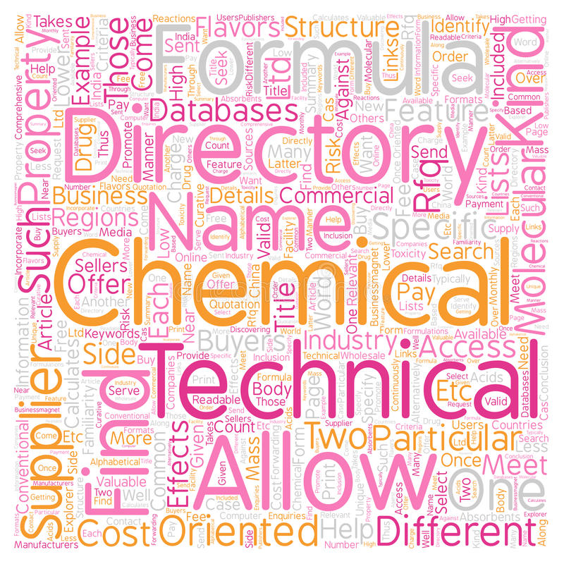 Word Cloud Text Background Concept. Chemical Directory Can Come in Two Flavors text background wordcloud concept royalty free stock images