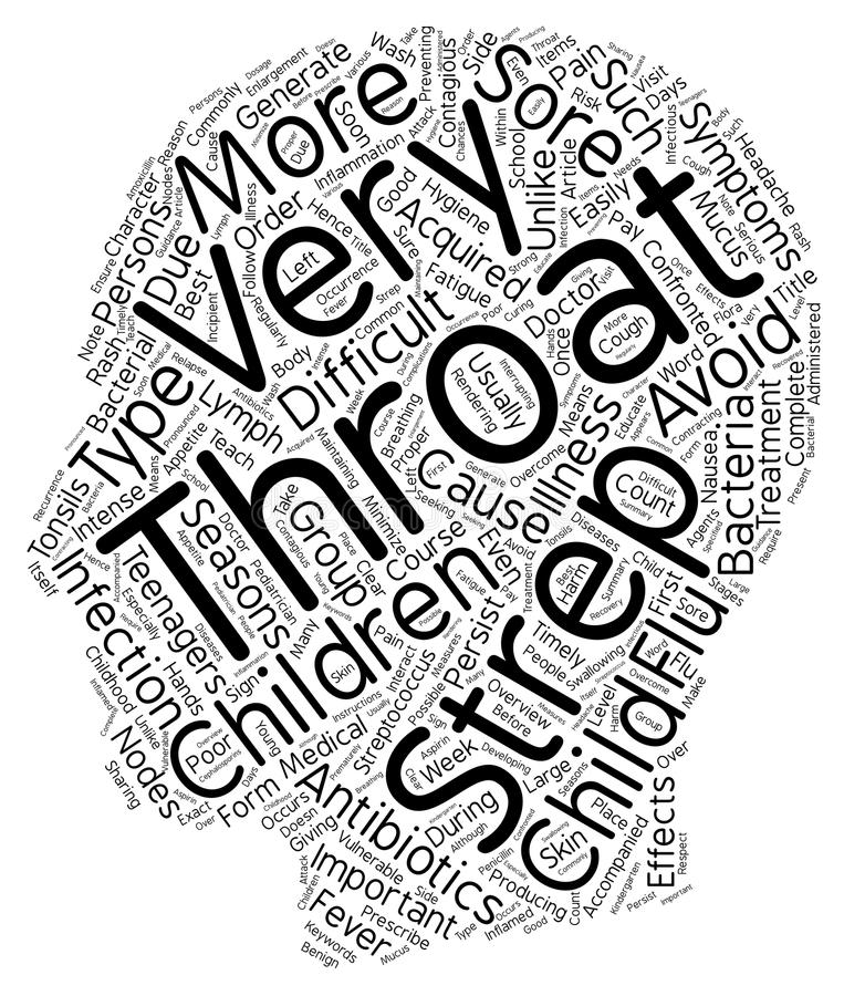 Word Cloud Text Background Concept. Childhood Strep Throat Overview text background wordcloud concept stock illustration