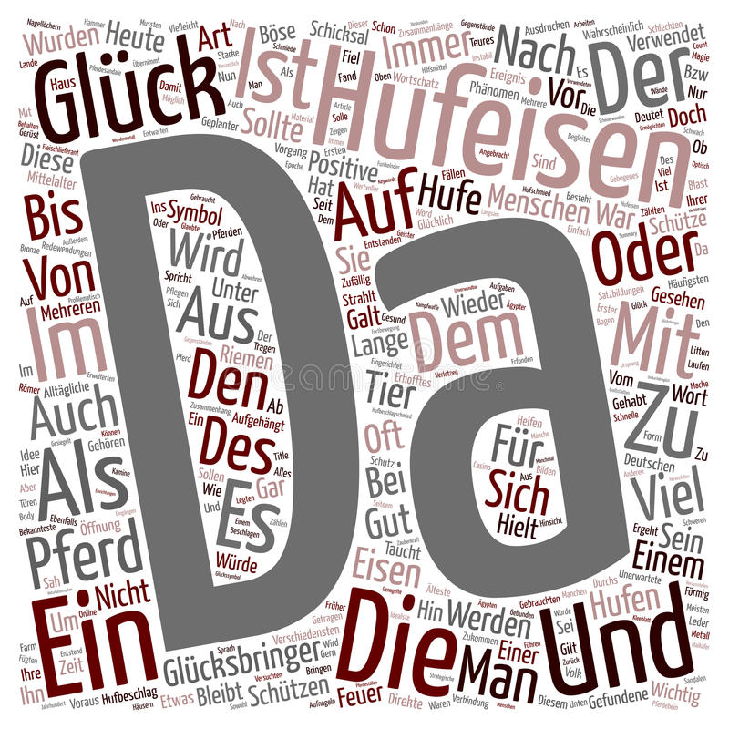 Word Cloud Text Background Concept. Das Hufeisen ein Symbol des Glucks text background wordcloud concept stock illustration