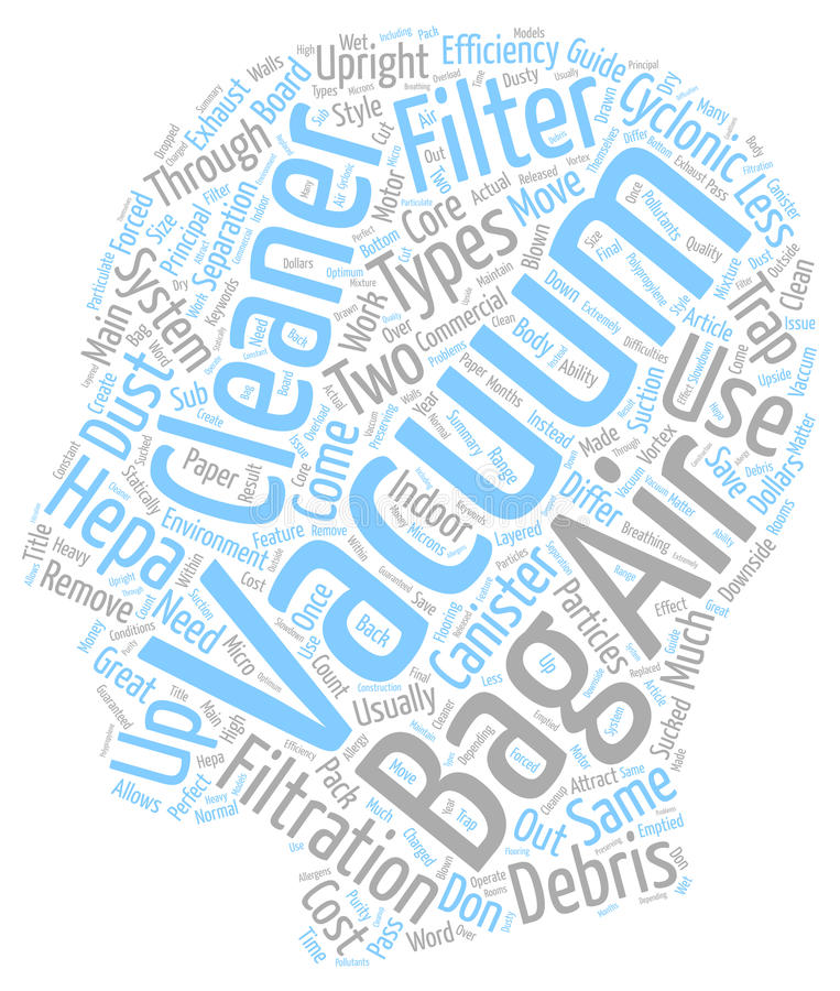 Word Cloud Text Background Concept. Filter Bag Vacuum Cleaners Bag Less Vacuum Cleaners HEPA Vacuum Cleaners A Vacuum Cleaner Guide text background wordcloud stock photo