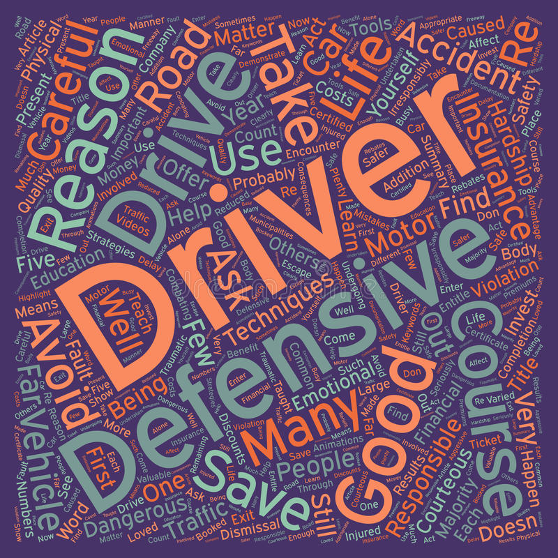Word Cloud Text Background Concept. Five Good Reasons To Take A Defensive Driver Course text background wordcloud concept royalty free stock images