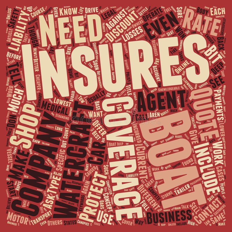Word Cloud Text Background Concept. How to Shop For Boat Insurance text background wordcloud concept stock images