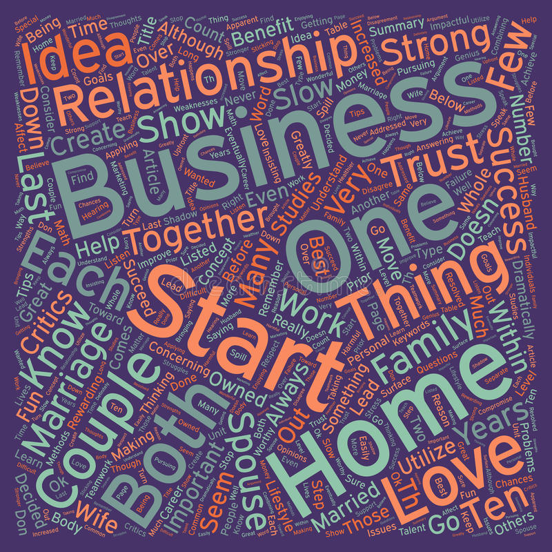 Word Cloud Text Background Concept. How To Start A Successful Home Business With Your Spouse text background wordcloud concept royalty free stock images