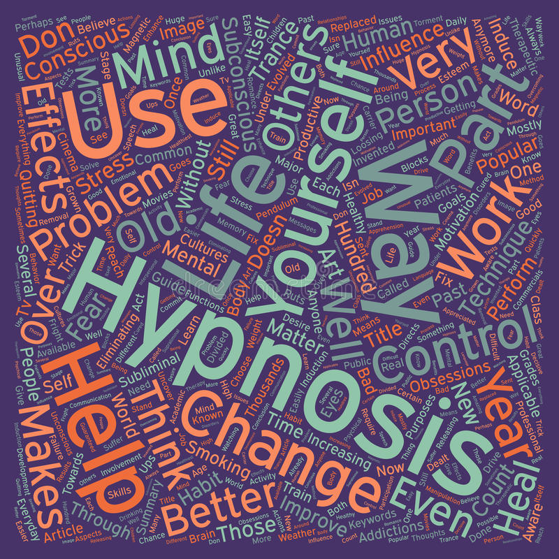 Word Cloud Text Background Concept. Hypnosis a part of life text background wordcloud concept royalty free stock photos
