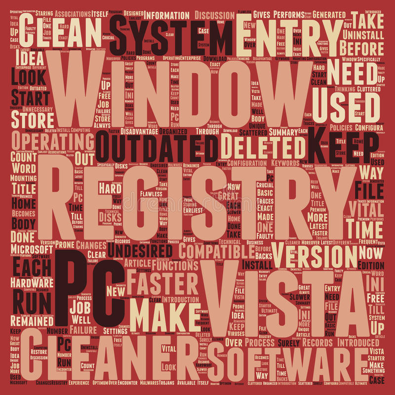 Word Cloud Text Background Concept. Make Your Windows Vista PC Run Faster With Window Vista Registry Cleaner text background wordcloud concept stock illustration