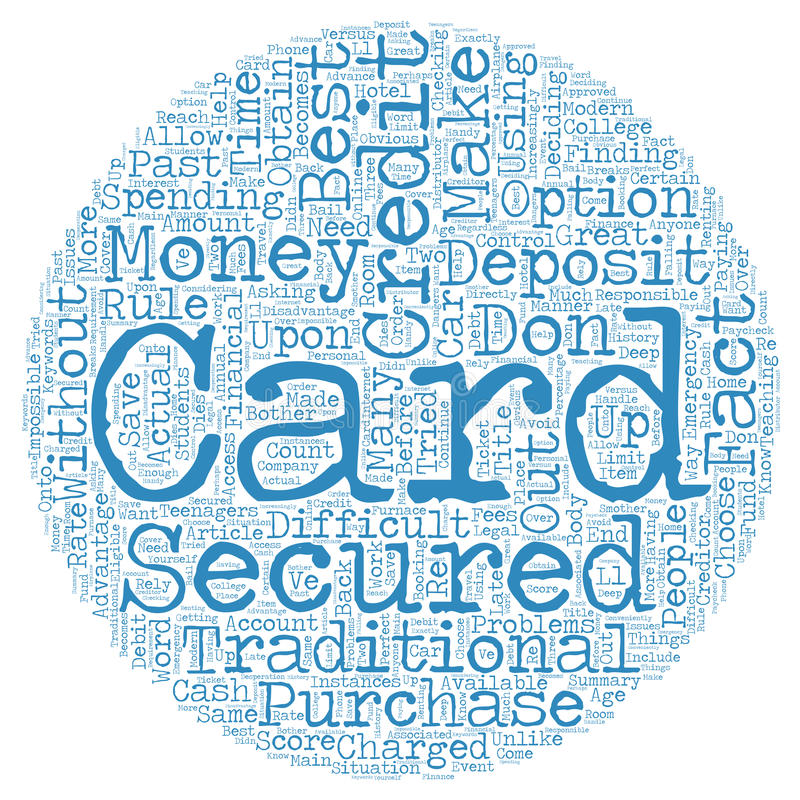Word Cloud Text Background Concept. Secured Credit Cards text background wordcloud concept royalty free illustration