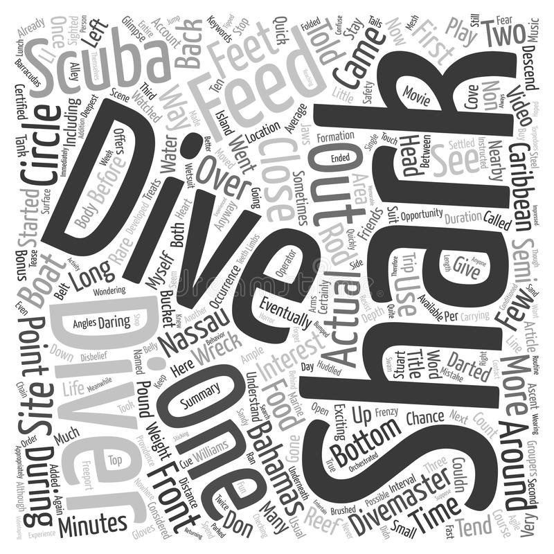 Word Cloud Text Background Concept. The Shark Dive at Nassau Bahamas text background wordcloud concept royalty free illustration
