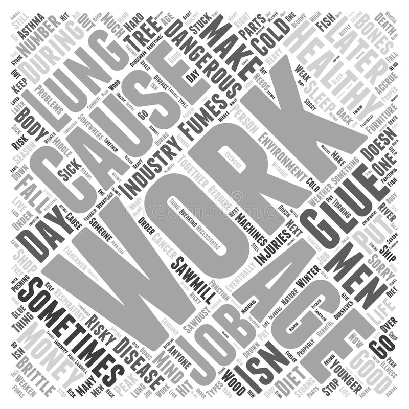 Word Cloud Text Background Concept. The Work Environment in Healthy Aging word cloud concept stock illustration