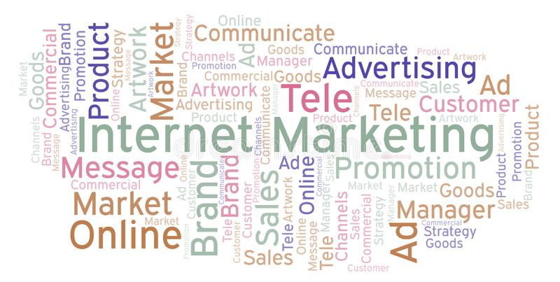 Word cloud with text Internet Marketing. stock illustration