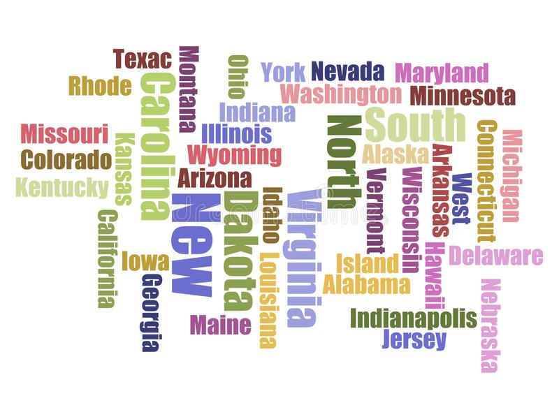 Word cloud travel concept made with words all U.S. states names. Vector vector illustration