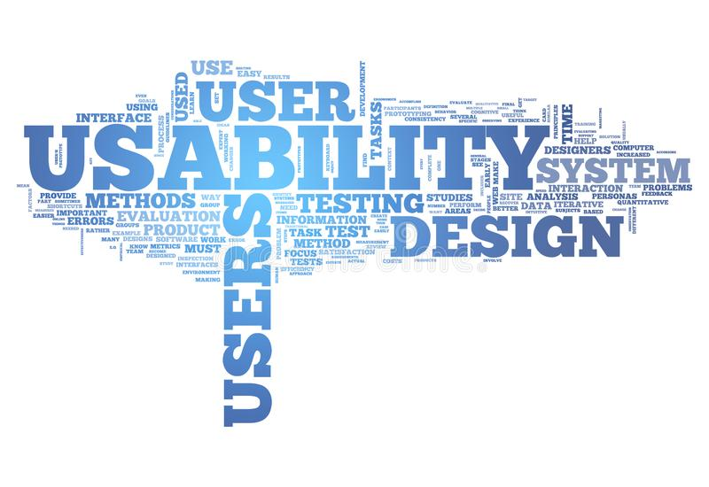 Word Cloud Usability. Word Cloud with Usability related tags vector illustration