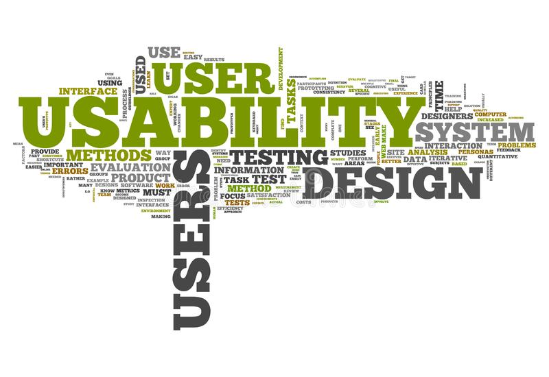 Word Cloud Usability. Word Cloud with Usability related tags stock illustration