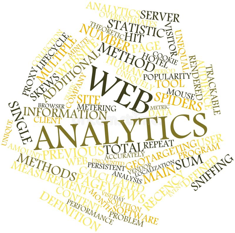 Word cloud for Web analytics. Abstract word cloud for Web analytics with related tags and terms stock illustration