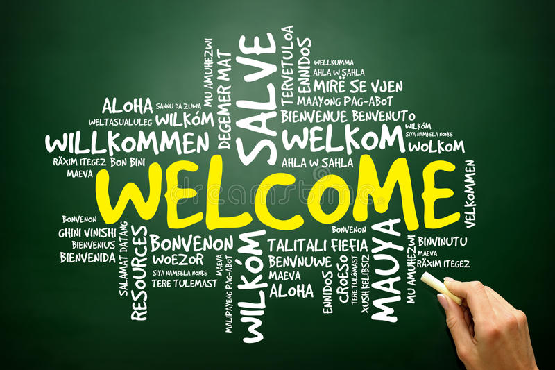 Word cloud of WELCOME in different languages, business concept royalty free illustration