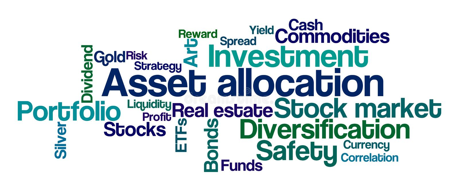Asset Allocation. Word Cloud on a white background - Asset Allocation vector illustration