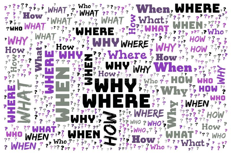 Word Cloud - Who, What, Where, When, Why and How on white background stock illustration