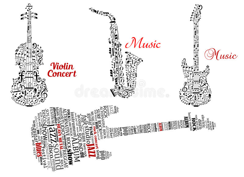 Word Clouds And Notes In Shape Of Guitars Violin Stock Vector