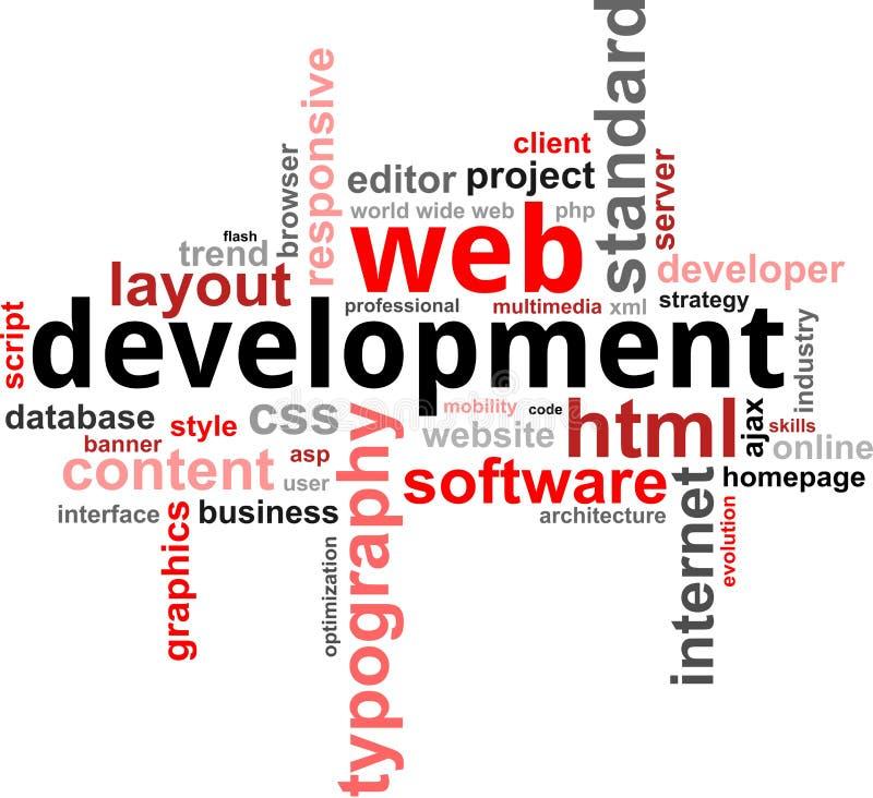 Word clouod - Webontwikkeling vector illustratie