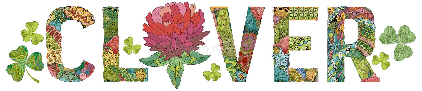 Word CLOVER. Vector decorative zentangle object vector illustration