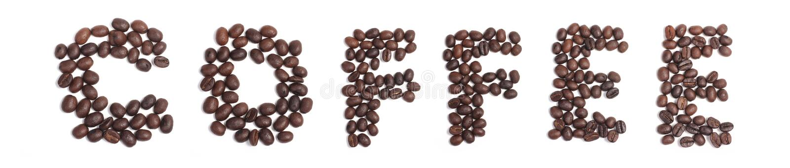Word coffee from coffee beans, Alphabet from coffee beans royalty free stock image
