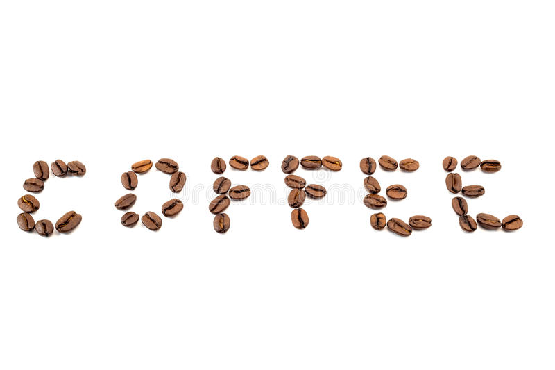 Word coffee made from coffee beans isolated on a white stock photo