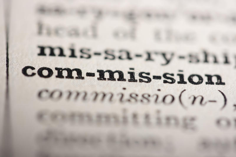 Word commission. From the old dictionary, a close up stock photography