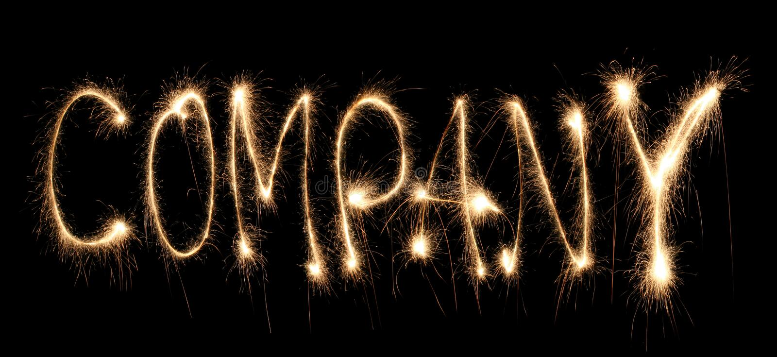 Download Word Company Written Sparkler Stock Image - Image: 8668377
