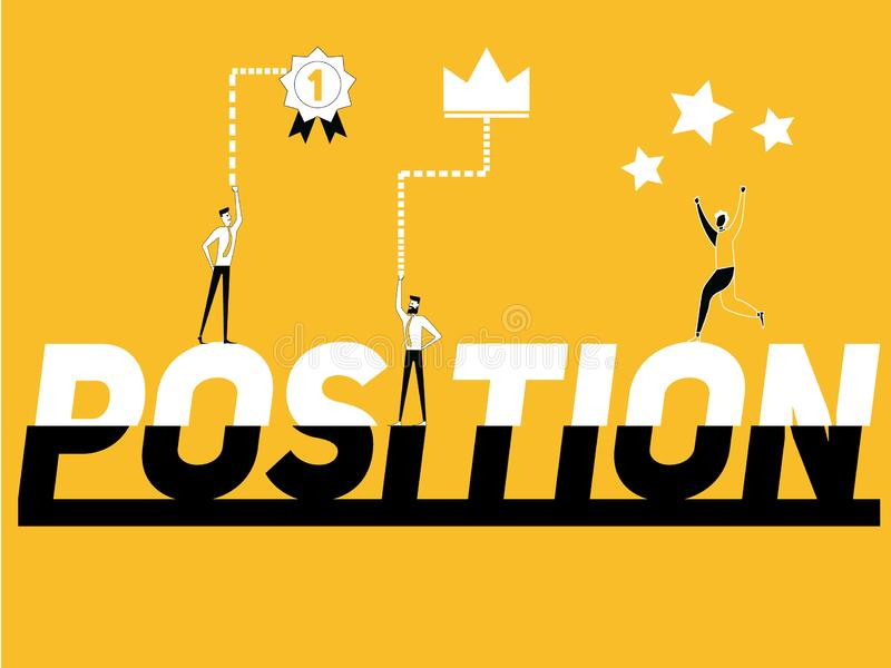 Word concept Position and people doing activities royalty free illustration