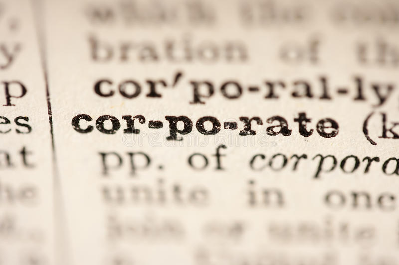 Word corporate. From the old dictionary, a close up stock image