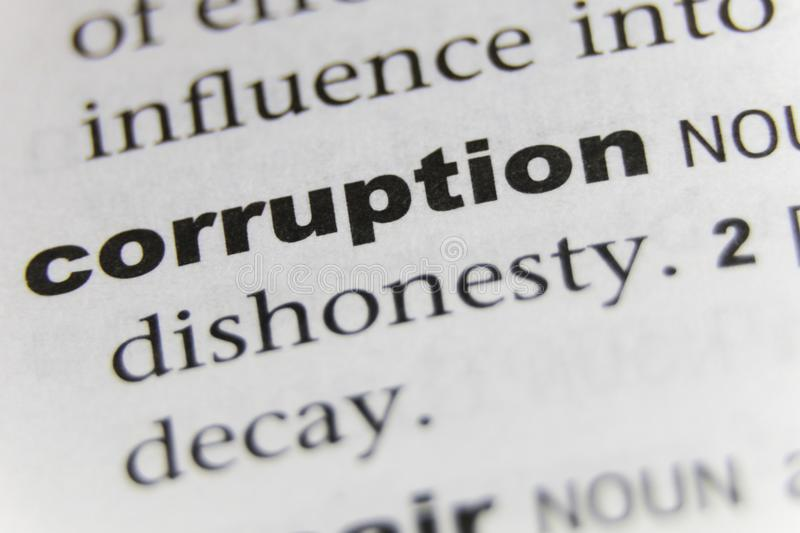 The Word Corruption Close Up.  stock photo