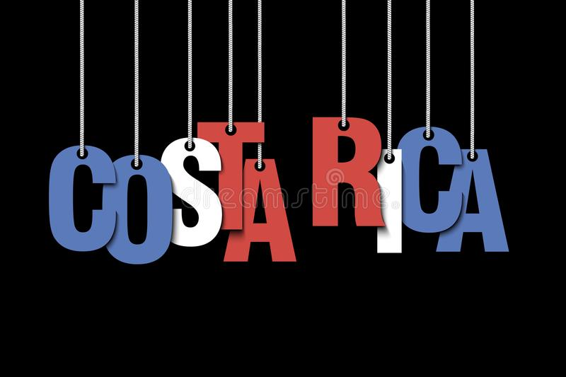 The word Costa Rica hang on the ropes vector illustration