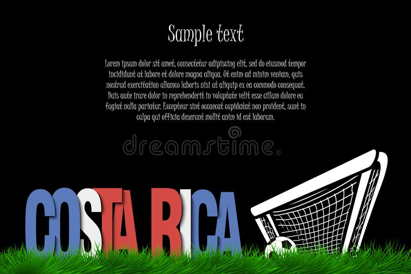 Costa Rica and a soccer ball at the gate vector illustration