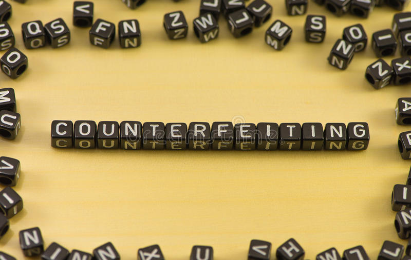 The word counterfeiting. On wood background royalty free stock images