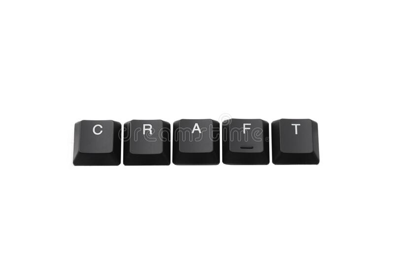 Word craft written on keyboard. Isolated on white. Top view royalty free stock images