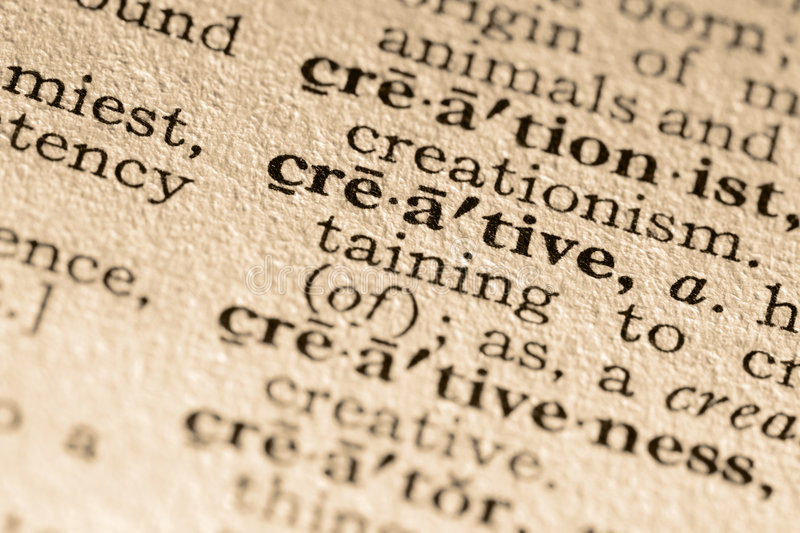 The word creative. Close-up of the word creative in a dictionary stock image
