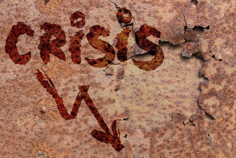 Word crisis on wall. Word crisis is painted on a rusty metal wall royalty free stock images