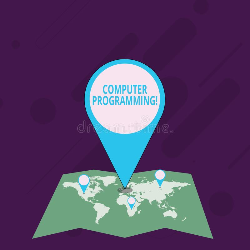 Word ?crivant la programmation par ordinateur des textes Concept d'affaires pour le processus qui instruit un ordinateur sur la f illustration stock