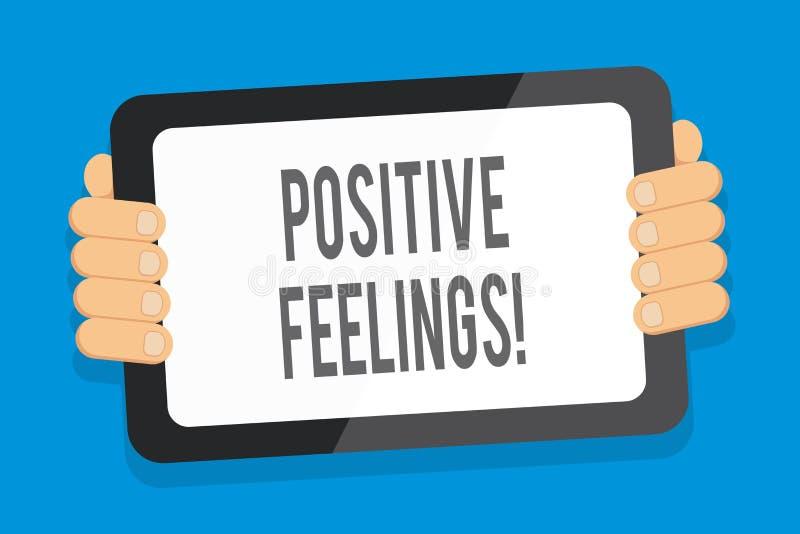Word ?crivant ? texte des sentiments positifs Concept d'affaires pour tout sentiment o? il y a un manque de n?gativit? ou de tris illustration libre de droits