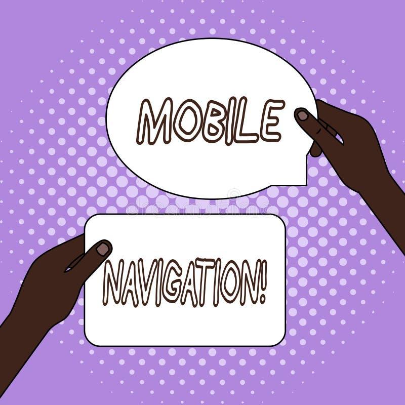 Word ?crivant ? texte la navigation mobile Concept d'affaires pour l'interface utilisateur graphique employ?e pour faciliter le c illustration libre de droits